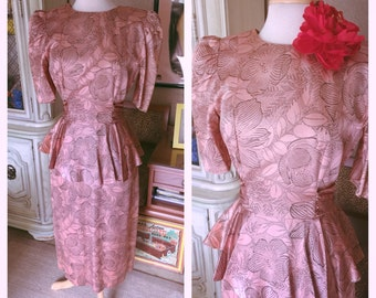 Vintage 1940s style Dress pink peach floral peplum M L 1930s Swing Rockabilly 30s 40s