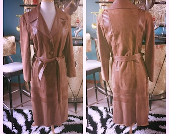 Vintage 1930s style Jacket mocha Brown Leather Trench Coat deco boho rockabilly M L 30s 1960s 60s