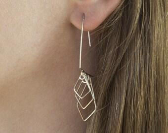 Long Modern Sterling Silver Earrings - geometric earrings, triangle earrings, unique earrings, dangle earrings