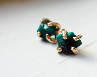 Emerald Green Dioptase Studs in 14k Yellow Gold Claw Prong Studs