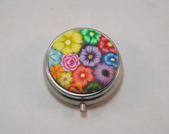 Pill Box, Handcrafted Colorful Millefiori Floral Polymer Decorated Container