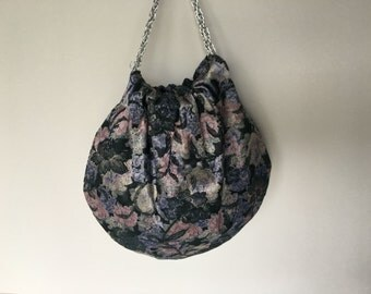 Black Floral Evening Handbag with Silver Chain Handles - Handmade Hobo Purse - Ready to Ship