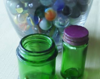 Two Vintage Green Glass Bottles One Mentholatum & One Doanes- Pills. Beautiful Green Glass