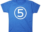 Kids Circle Fifth Birthday Shirt Awesome Boys 5th Birthday T-shirt - Royal Blue