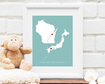 State and Country Heart Map, Long Distance Couple, Wedding Gift, Two Locations Map, Personalized Deployment, Miss You Gift - Art Print