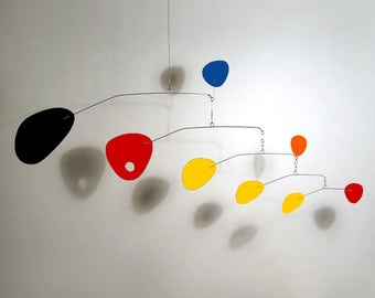 """Modern Art Mobile """"Modernis"""" Mobile by Julie Frith Blue Red Yellow Orange Black Small for Nursery Home Decor Calder Styled All Made"""