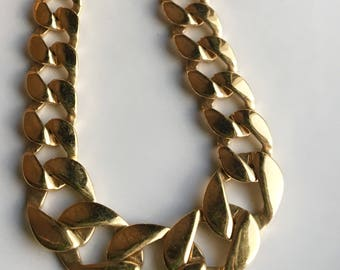 Vintage Monet Necklace, Gold Plated Necklace, Large Link Necklace, Costume Jewelry, Etsy, Etsy Jewelry
