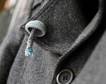 Beaded mushroom crochet pin - grey woodland brooch - whimsical jewelry