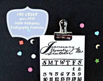 PRE ORDER // The 2017 Little Letterpress Calligaphy Calendar, Original Design, Hand Lettering, Office Desk Calendar, Unique Handcrafted Gift
