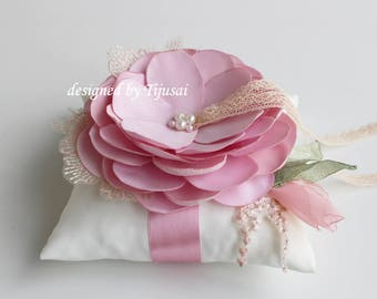 Rings pillow with pink flower and embroiderings---wedding rings pillow , wedding pillow, ring bearer pillow, ring cushion, ready to ship
