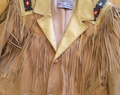 Vintage Western Suede Jacket by Lariat Leather Fringe with Beaded Accents cowboy southwestern