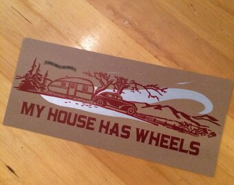 TEARDROP TRAVEL TRAILER My House Has Wheels hand printed letterpress poster