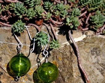 Green Murano Blown Glass Balls on Handcrafted Sterling Silver Earrings