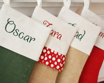 SALE!! ONE Burlap Christmas Stocking - Pick your style - Free monogramming