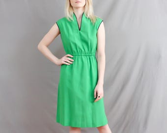 1970's Clover Green Linen Dress with Blue Trim in Medium . Above the Knee Length . A line 70s . Summer Day Dress . Large Sale