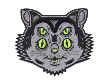 Dayglo Cat Scuzzball Patch - Weirdo Kitty Embroidered Patch, Lowbrow Art Monster