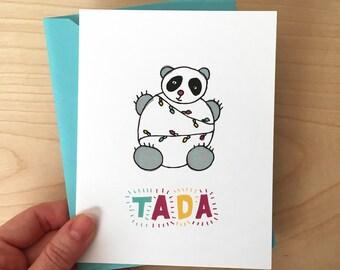 Panda - lights holiday card