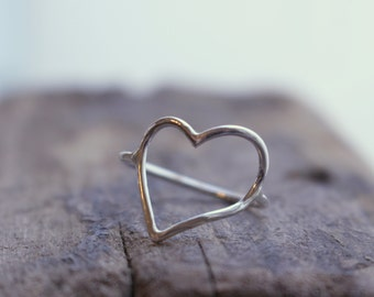 Sterling Silver Open Heart Ring - Midi Heart Ring