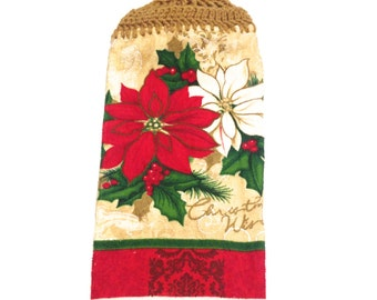 Poinsettia Hand Towel With Warm Brown Crocheted Top