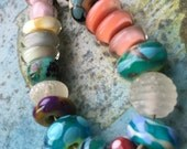 bright collection of eccentric orphan lampwork beads - sampler - by Ellen Dooley SRA (20)