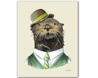 Otter animal print - modern kids art - art print - living room decor - animals in clothes - animal artwork - cute animal by Ryan Berkley 5x7