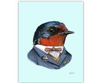 Swallow art print 11x14