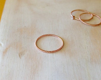 14K Rose Gold 1mm Twisted Rope Ring Dainty Gold Ring Wedding Band Stacking Ring - made to order in your finger size
