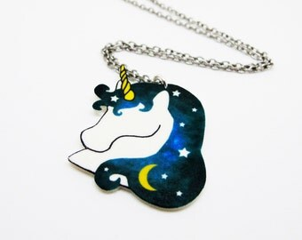 Green Cosmic Unicorn Necklace