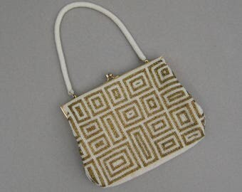 Vintage Modern Geometric Beaded Evening Bag White & Gold Hong Kong Mid Century Beaded Bag Excellent Condition