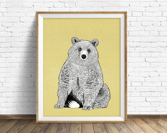 "art print, grizzly bear, bear drawing, woodland animals, large art, large wall art, woodland nursery, wall art, kids room art - ""Wild Heart"""