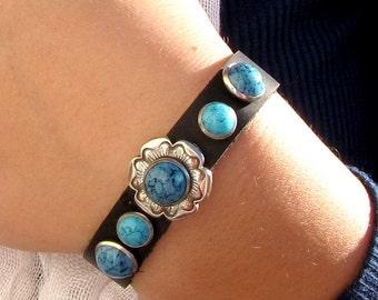 Turqoise #Wristband #Bracelet #Southwestern #Black Leather #Men Woman and Teens