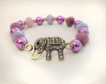 Elephant bracelet, elephant charm, boho bracelet, stack jewelry, stack bracelet, bead bracelet, purple bead bracelet, elephant jewelry