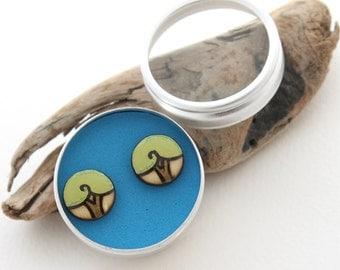 Lime Green Wood Tree Stud Earrings, Everyday Simple Earrings, Small Stud Earrings, Wood Burned, Tree of Life, Nickel Free for Sensitive Ears