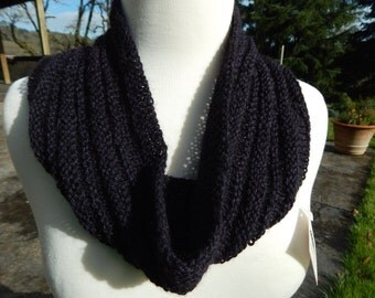 Hand Knitted Alpaca Bamboo Blend Cowl in Black with Purple OOAK