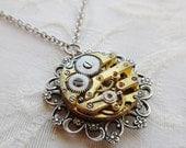 75% Off Clearance Sale - Steampunk Necklace- Secret Garden