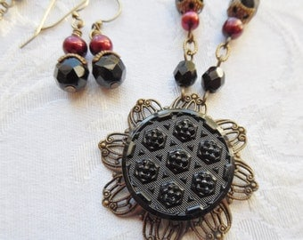Redmond, Antique Button Necklace with Matching Earrings, Freshwater Pearls, One of a Kind, Beautiful and Unique