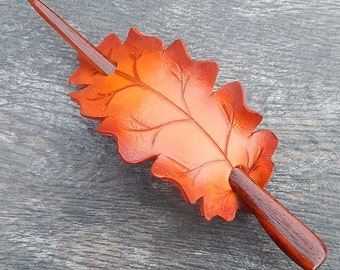 Flame Oak Leather Hair Slide with Coco Bolo Rosewood Hairstick - Orange Fall Leaf Shawl Pin or Barrette - Autumn Colors, Warm Tones