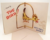 rude Get Well Soon card - Vintage Greeting Card - The Bird - puns - funny - irreverent