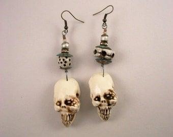 Rustic Vintage Skeleton ,Zombie, Halloween, Horror Jewelry, Bohemian Zombie Head Earrings
