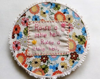 Embroidery Hoop ART Hand Embroidered Trooper Lyrics Rock Wall Hanging