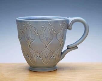 Periwinkle blue mug, Victorian Moroccan handmade cup