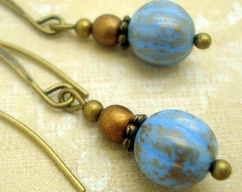 Boho Earrings with Rustic Denim Blue Glass Beads