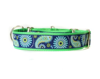 Wide 1 1/2 inch Adjustable Buckle or Martingale Dog Collar in Blue and Green Paisley