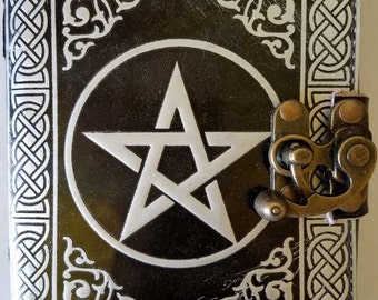 black/ silver Pentagram leather blank book w/ latch-BOS, Book of Shadows, Leather Blank Journal, Altar Tools, Witch Tools for spells,wiccan