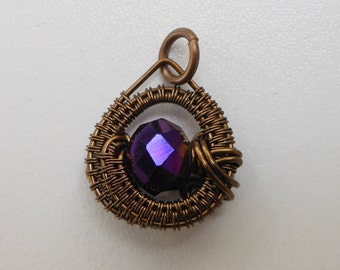 Woven Wire Pendant, Purple Faceted Bead, Reversible Woven Wire Circle, Antique Brass Wire, Spirals, Purple Rondelle, Round Double Sided