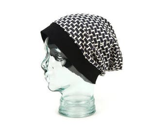 Graphic Blocks Black and Cream Slouchy Beanie Hat