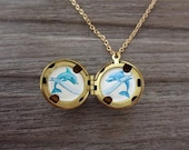 Personalized Locket, Tiny Dolphins Hand-Painted Necklace in Enamel, Add Your Message