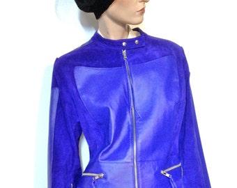 Purple Leather Jacket & Skirt Size 12 NWOT 80s