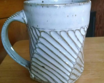 Carved Stoneware Coffee Mug