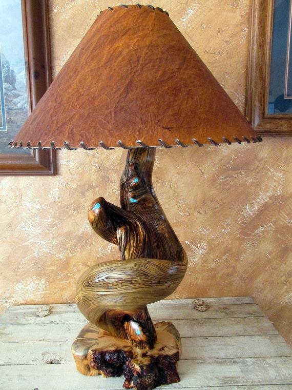 Juniper Wood Table Lamp Rustic Log Cabin Home Decor Country